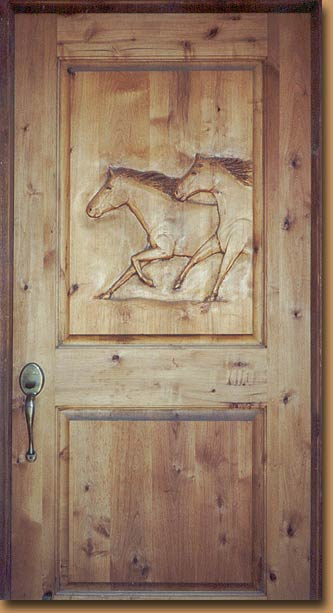 Horn Mountain Living - Horses Carved Door