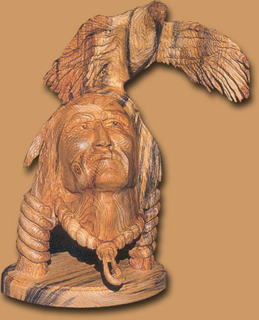 Horn Mountain Living - Carved Wood Sculpture - Indian Head