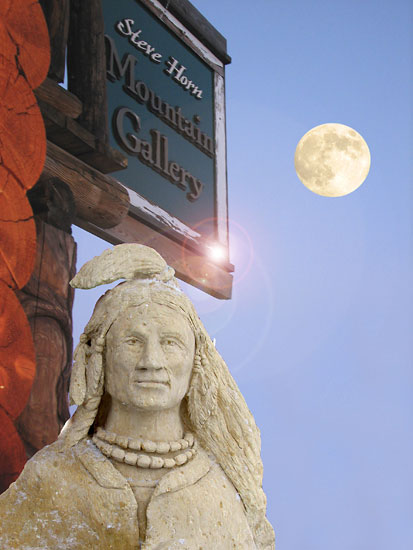Carved Stone Sculpture - Indian Head